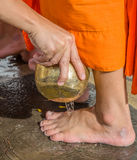 Pouring water onto the feet of the monk Stock Photography