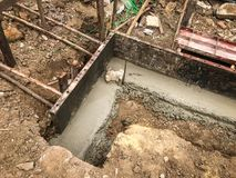 Pouring wet concrete in to a house foundation construct Stock Images