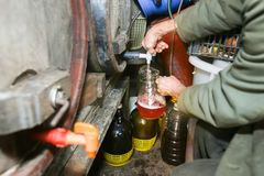 Pouring wine from barrel. A man pouring homemade wine from a barrel into the pitcher royalty free stock photography