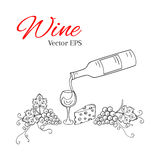 Pouring wine into the glass vector illustration Stock Photography