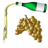 Pouring wine and grapes Stock Photography