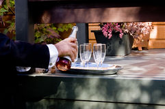 Pouring wine for toast Royalty Free Stock Photos
