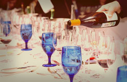 Pouring wine - winetasting event, toned image Stock Images
