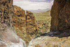 Pouroff da janela, parque nacional de curvatura grande, Texas, Estados Unidos da América imagens de stock