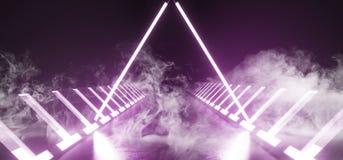 Pourpre blanc rougeoyant Violet Reflecting On Concrete de lumières lasers au néon de triangle de cercle futuriste de vaisseau spa illustration de vecteur