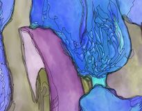 Pourpre bleu de tulipes de brun abstrait d'illustration Photos libres de droits