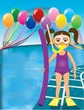 Pourpre de fille de prise d'air de piscine Image stock