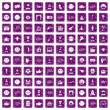 100 pourpre grunge réglé d'émotion par icônes illustration de vecteur