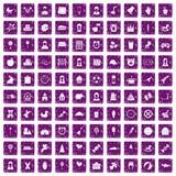 100 pourpre grunge réglé d'enfant par icônes centrales illustration de vecteur