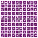 100 pourpre grunge réglé de travail par icônes préférées illustration de vecteur