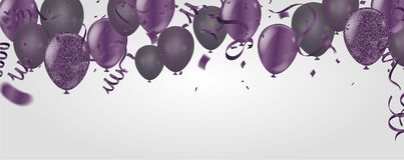 pourpre transparent avec le ballon d'hélium de confettis d'isolement dans illustration libre de droits