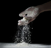 Pours the flour. Stock Photo