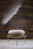 Pours pudrade socker på hemlagad runda för kaka Royaltyfri Fotografi