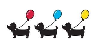 Poursuivez l'illustration de logo de personnage de dessin animé de chiot de ballon d'icône de teckel de vecteur illustration de vecteur