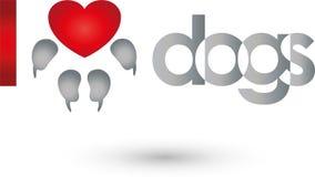 Poursuivez la patte avec le coeur, coeur pour le logo de chien illustration stock