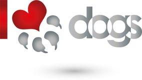 Poursuivez la patte et le coeur, les chiens et le logo de gardien illustration stock