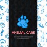 Poursuivez toilettage affiche de schéma avec le signe du chien, os, tondeuse, peigne Équipement animal élégant pour votre concept illustration libre de droits