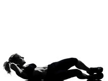 Pousées d'abdominals de posture de forme physique de séance d'entraînement de femme Photo stock