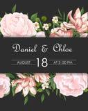 ?pouser floral invitent, invtation, sauvent le design de carte de date L'aquarelle rougissent les roses roses, fleurs blanches mi photographie stock