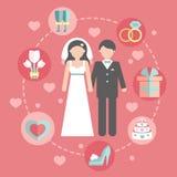 Épouser l'ensemble infographic avec la jeune mariée de bande dessinée et Images stock