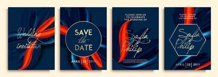 ?pouser l'invitation avec les fleurs bleues sur la texture d'or la carte de luxe sur des milieux d'or, couvre la conception, text illustration libre de droits