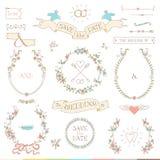 Épouser le rétro ensemble Coeurs, oiseaux et rubans Image stock