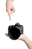 Poussée du bouton sur l'appareil-photo Photo libre de droits