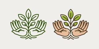 Pousse à disposition Agriculture, cultivant le logo ou le symbole Image libre de droits