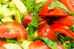 Pousse de plan rapproché du salat de légumes frais Photographie stock libre de droits