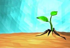 Pousse en hausse de concept d'écologie sur la terre sèche, bas poly Photo libre de droits