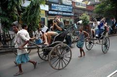 Pousse-pousse dans Kolkata Photos libres de droits