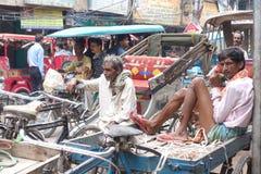 Pousse-pousse de cycle Varanasi Photo stock