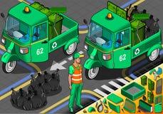 Pousse-pousse isométrique de déchets en Front View Images stock