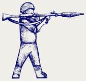 Pousse stipendiaire avec un bazooka Images libres de droits