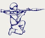 Pousse stipendiaire avec un bazooka Image libre de droits
