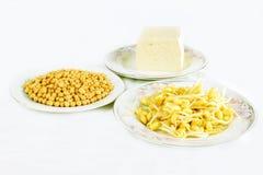 Pousses d'haricot de soja et tofu Photographie stock libre de droits
