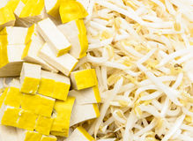 Pousses de lait caillé et de haricot de soja Images stock