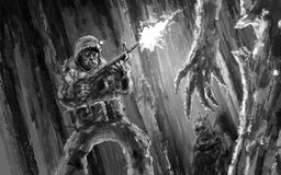 Pousses effrayées d'un soldat à un zombi illustration de vecteur
