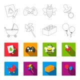 Poussette, moulin à vent, lego, ballons Les jouets ont placé des icônes de collection dans le contour, Web plat d'illustration d' illustration stock