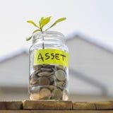 Poussez l'élevage des pièces de monnaie dans le pot en verre contre le backge de maison de tache floue Photographie stock