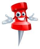Poussez la mascotte de fourniture de bureau de broche Photographie stock
