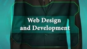 Poussez le bouton inverse sur l'écran tactile inscription de web design et de développement banque de vidéos