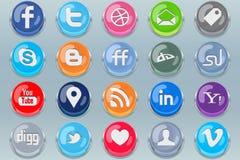 Poussez les boutons sociaux de medias Image libre de droits