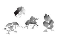 Poussin d'encre illustration stock