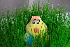 Poussin de Pâques dans l'herbe verte images stock