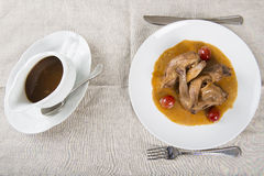 Poussin with grapes sauce Stock Photo