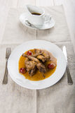 Poussin with grapes sauce Stock Photos