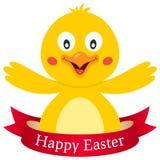 Poussin mignon heureux de Pâques avec le ruban Photographie stock