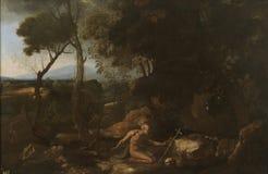 Poussin, Nicholas - Kształtuje teren z Świątobliwym Jerome, Ca 1637 zdjęcia stock