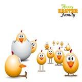 Poussins drôles d'oeufs de pâques - illustration de fond - easte heureux Images libres de droits